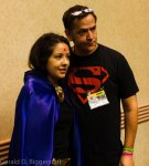 Scott Lobdell with a fan dressed as Raven, whom Scott said would lead a group of Titans that would possibly spinoff of Teen Titans #25