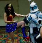 The Clone Trooper enjoys being lassoed by Wonder Woman