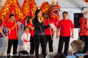 WEWS reporter, Jackie Fernandez with OCA Dragon Dance Team