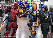 Deadpool, Deathstroke and Arrow cosplayers